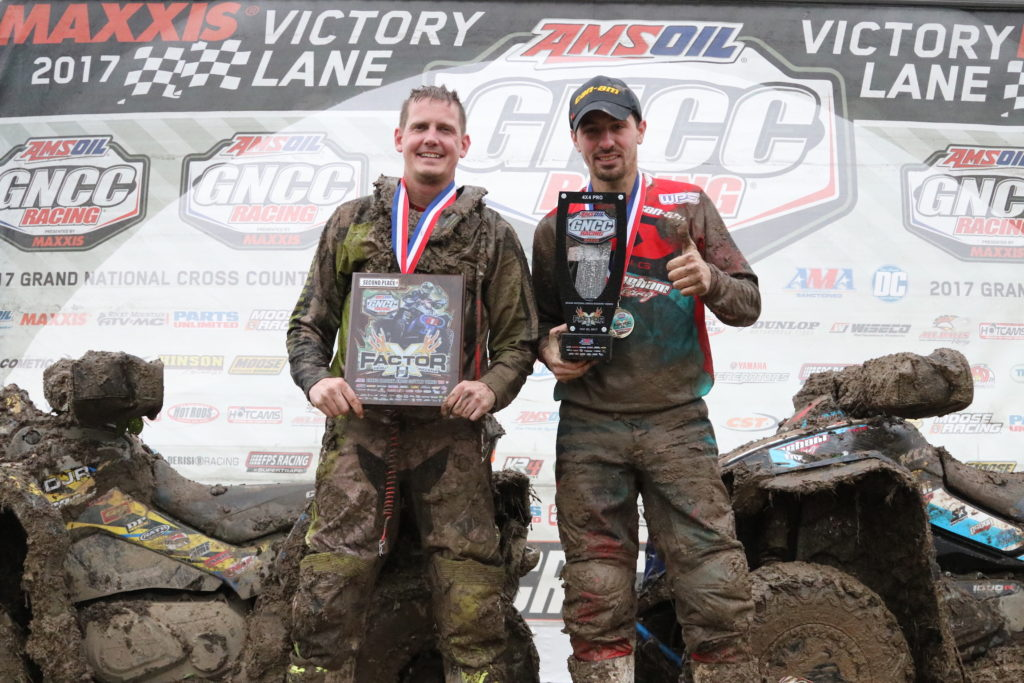 Kevin Cunningham (right) and Bryan Buckhannon went one-two in round six of GNCC action in Indiana.
