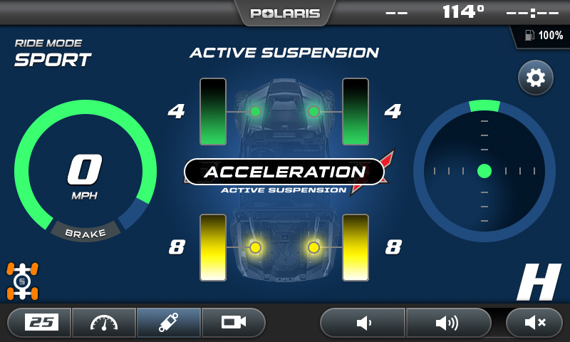 Under acceleration the rear shocks become firmer, putting more power to the ground.