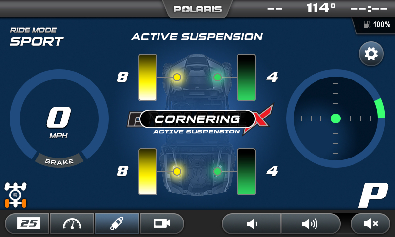 On screen diagnostics illustrate how the system is making on-the-fly adjustments. Under hard cornering the outside shocks become stiffer to prevent body roll resulting in flatter cornering.