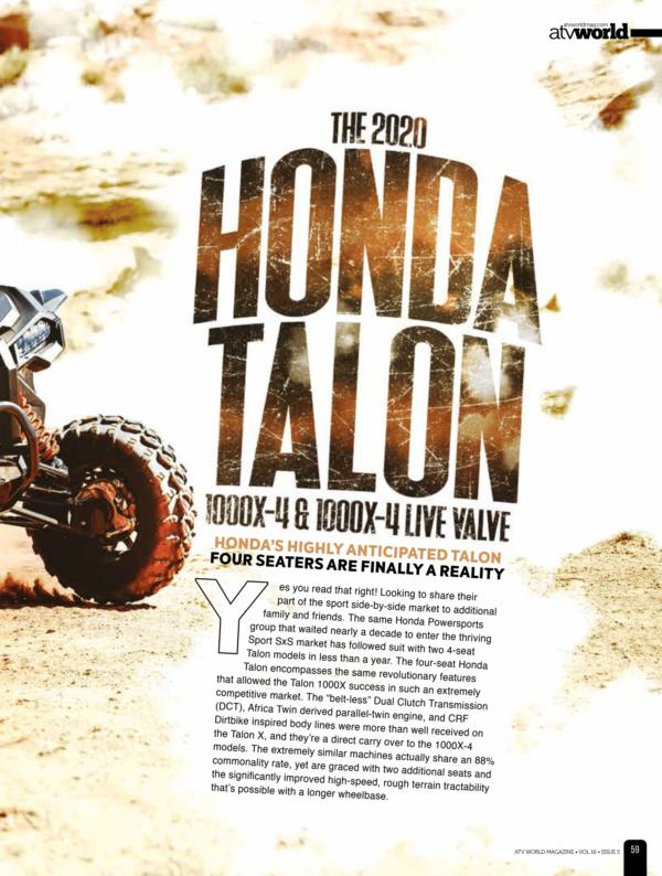 THE 2020 HONDA TALON 1000X-4 & 1000X-4 LIVE VALVE