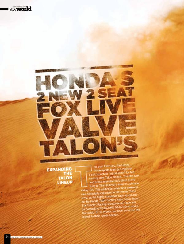 HONDA'S 2 NEW 2 SEAT FOX LIVE VALVE TALON'S